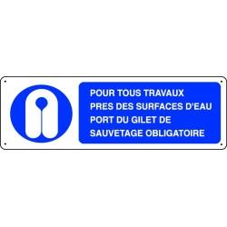 Panneau pour tous travaux pr s des surfaces d 39 eau port du gilet stocksignes - Port du gilet obligatoire ...