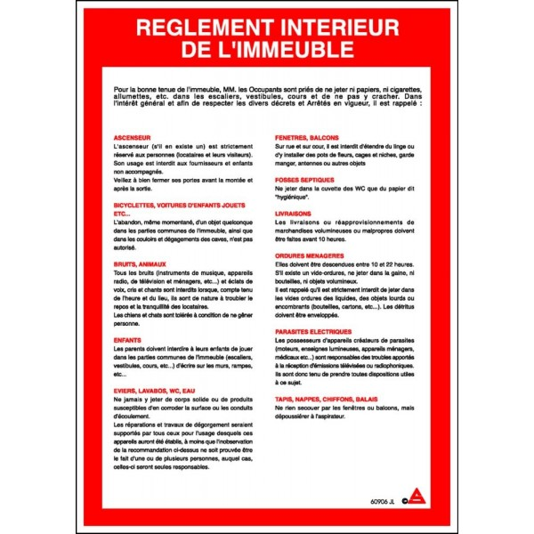 Consigne r glement int rieur immeuble stocksignes for Exemple de reglement interieur entreprise