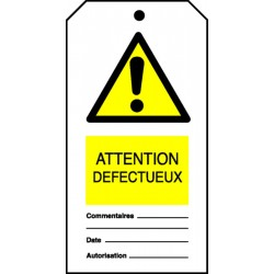 Etiquette Attention défectueux (Paquet de 10)