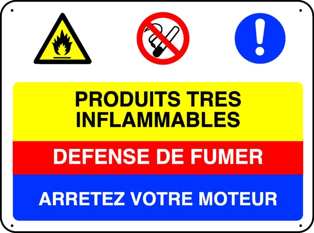 Panneau Produits très inflammables, défense de fumer, arrétez