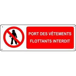 Panneau Port des vêtements flottants interdit