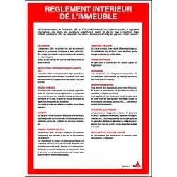 Consigne Règlement intérieur immeuble avec cadre alu
