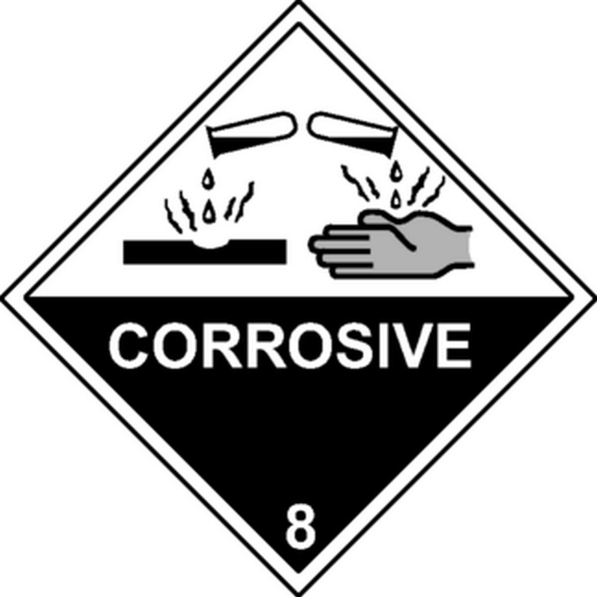 Etiquette Corrosive Classe 8 en anglais