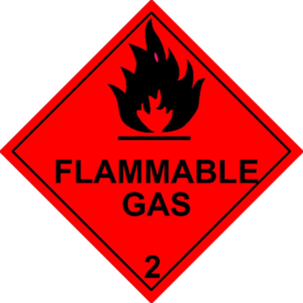 Etiquette Flammable Gas Classe 2 en anglais