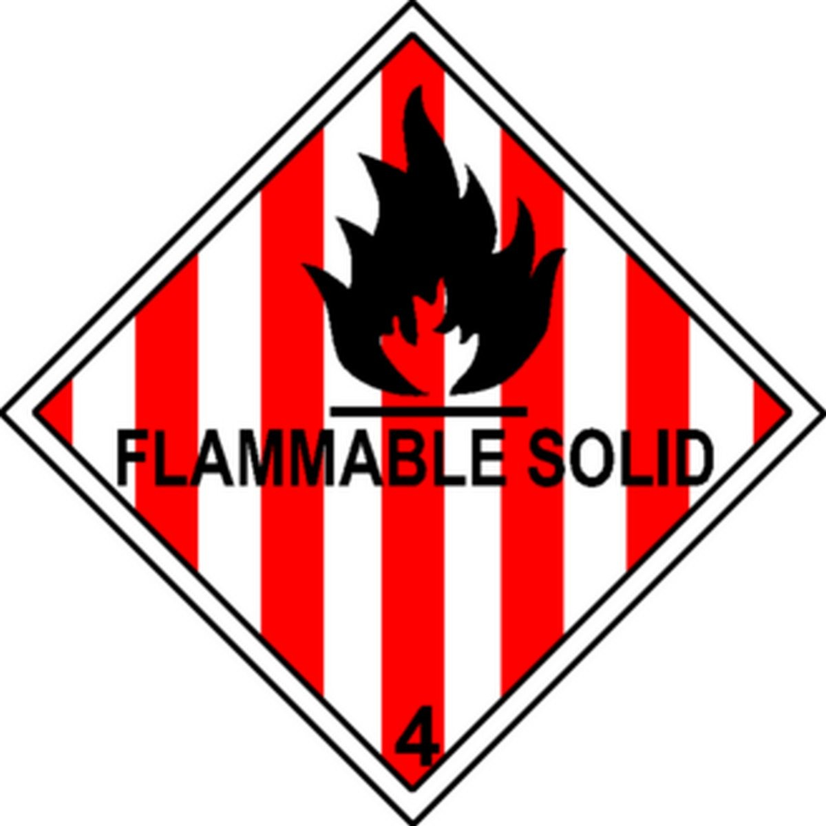 Etiquette Flammable Solid Classe 4 en anglais