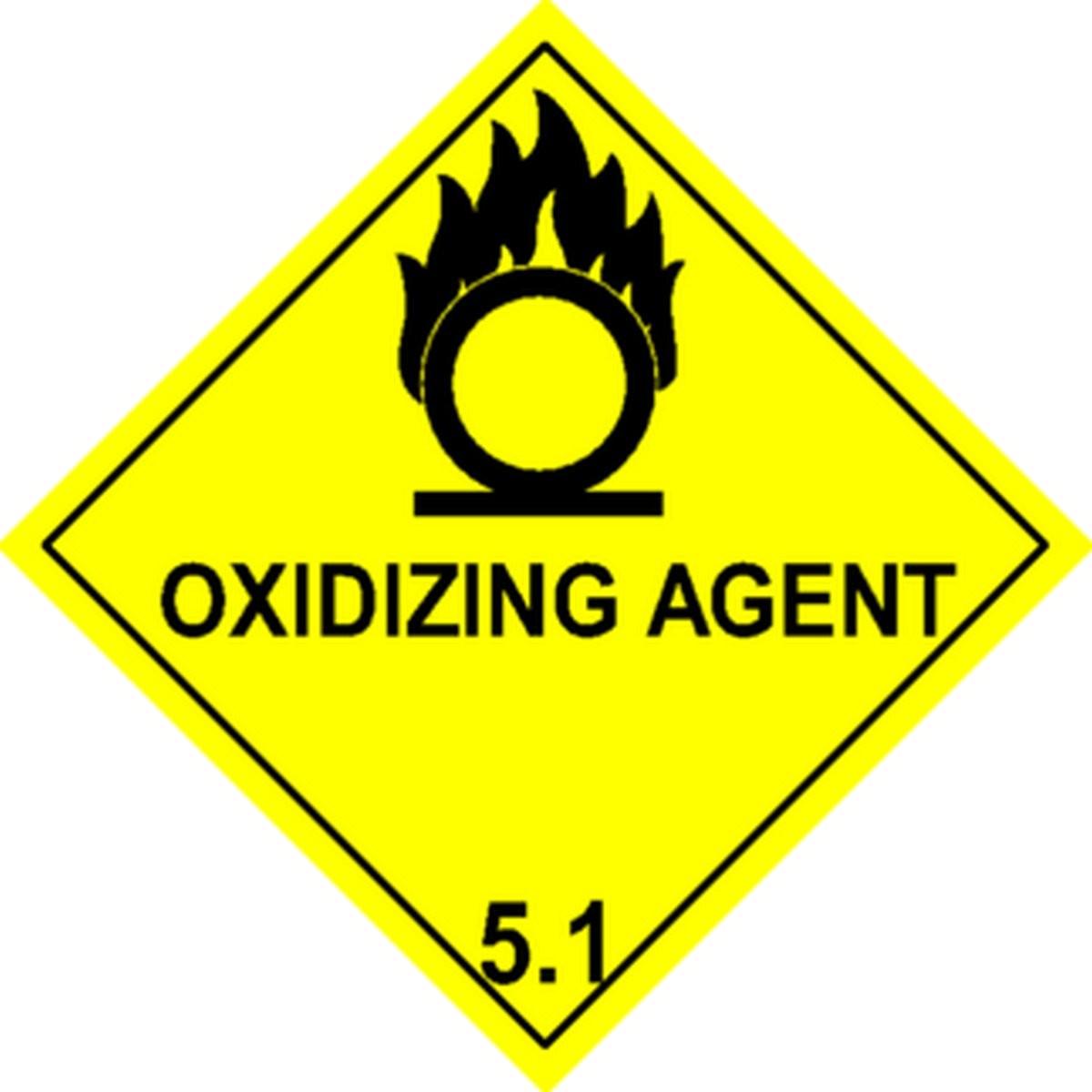 Etiquette Oxidizing Agent Classe 5.1en anglais