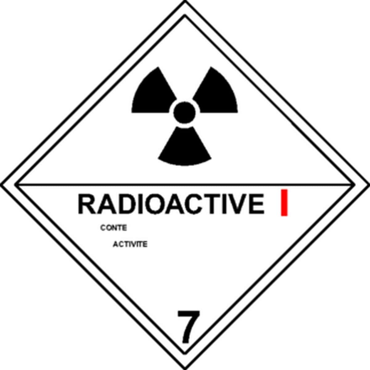 Etiquette Radioactive I en anglais