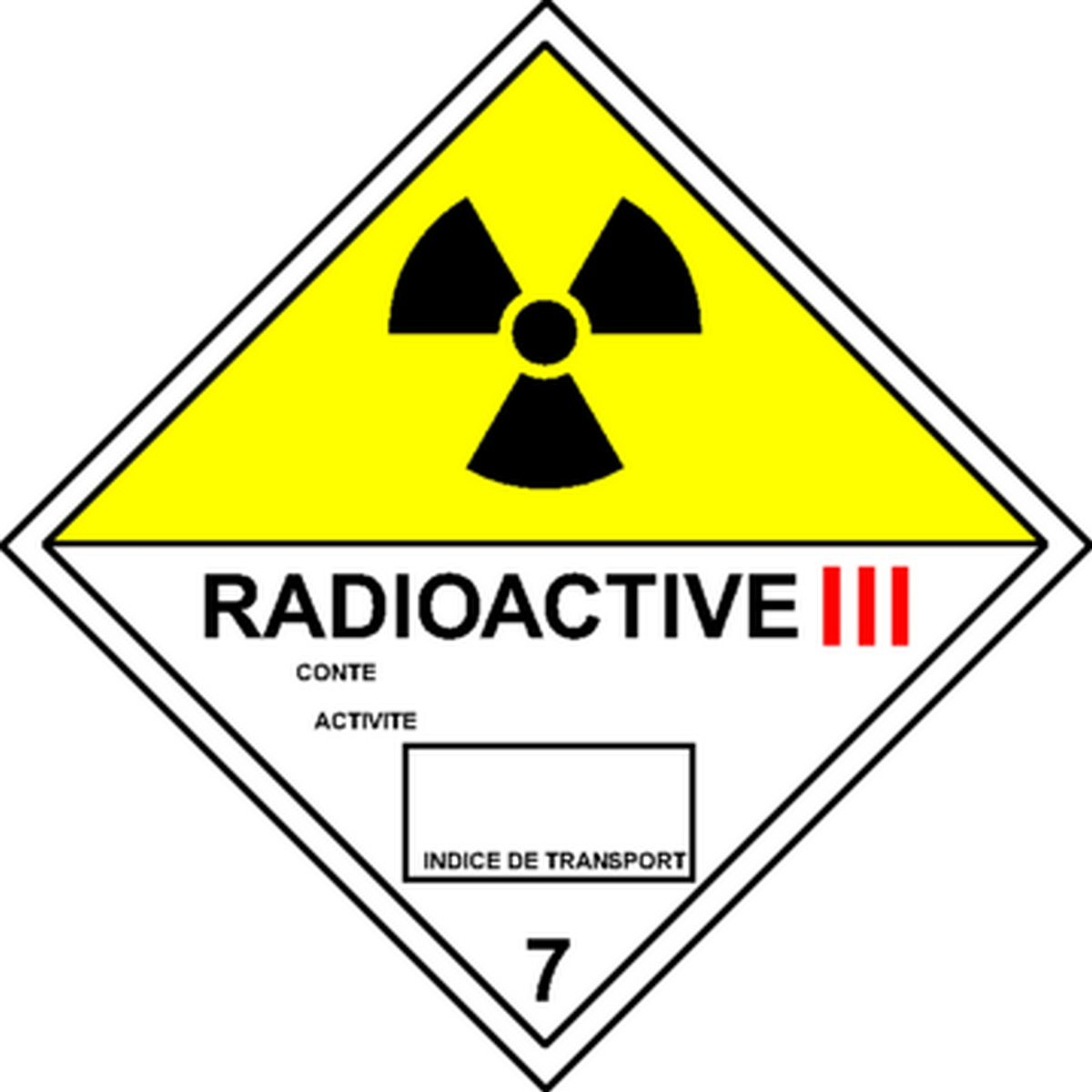 Etiquette Radioactive III en anglais