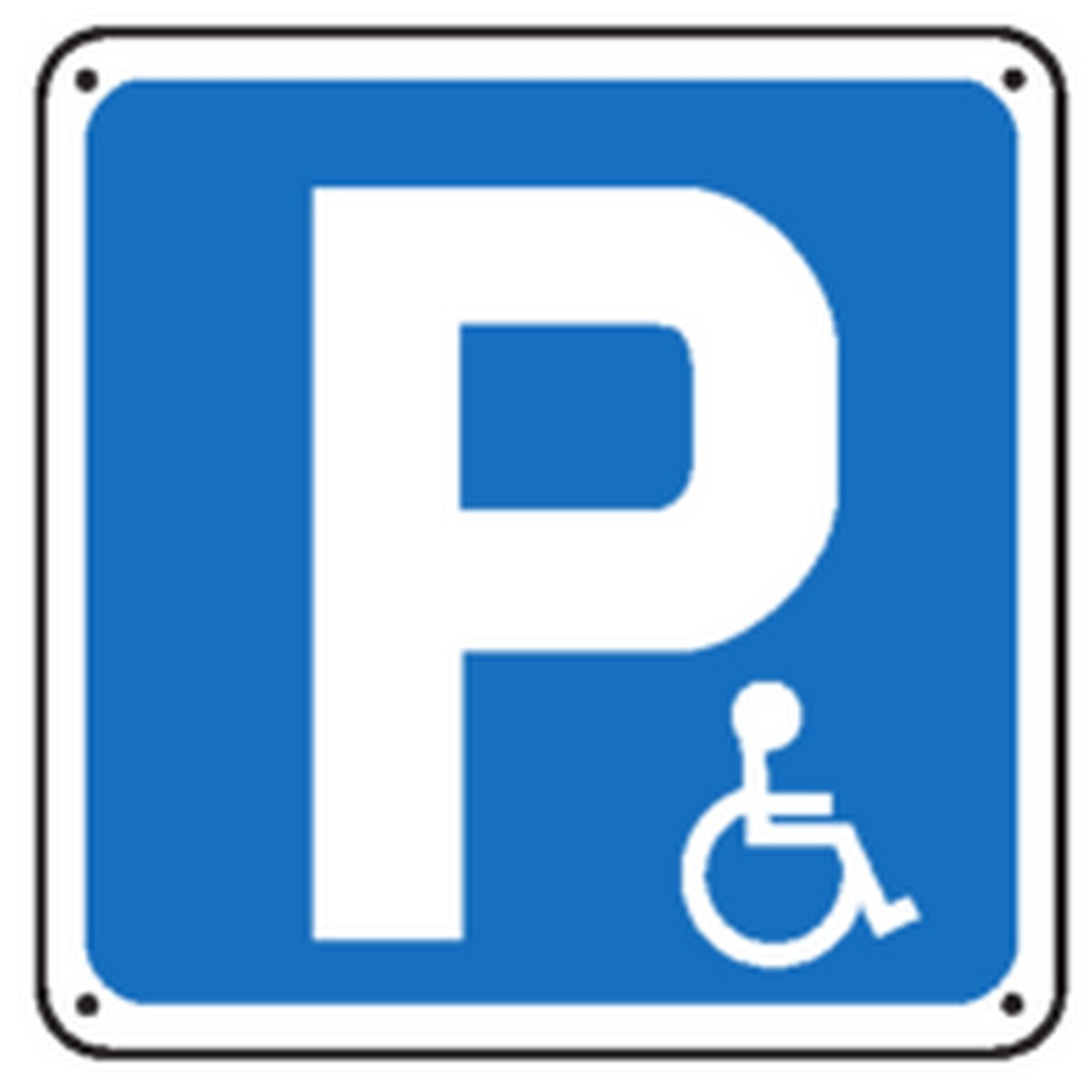 Panneau P Handicapés Renforcé pour poteau