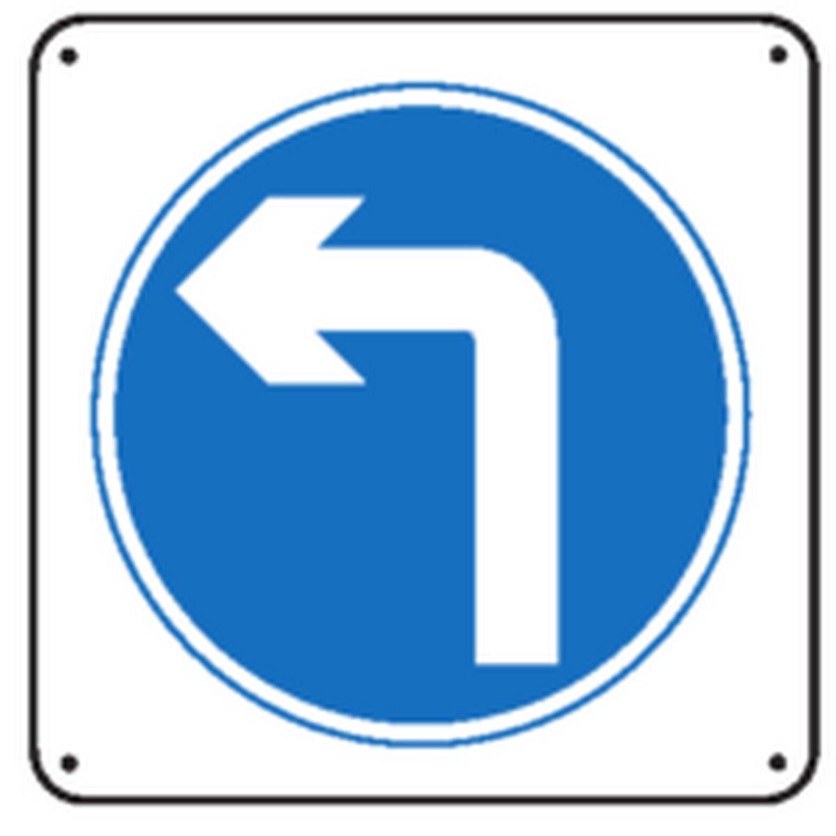Panneau Obligation de tourner à gauche renforcé