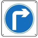 Panneau Obligation de tourner à droite renforcé pour poteau