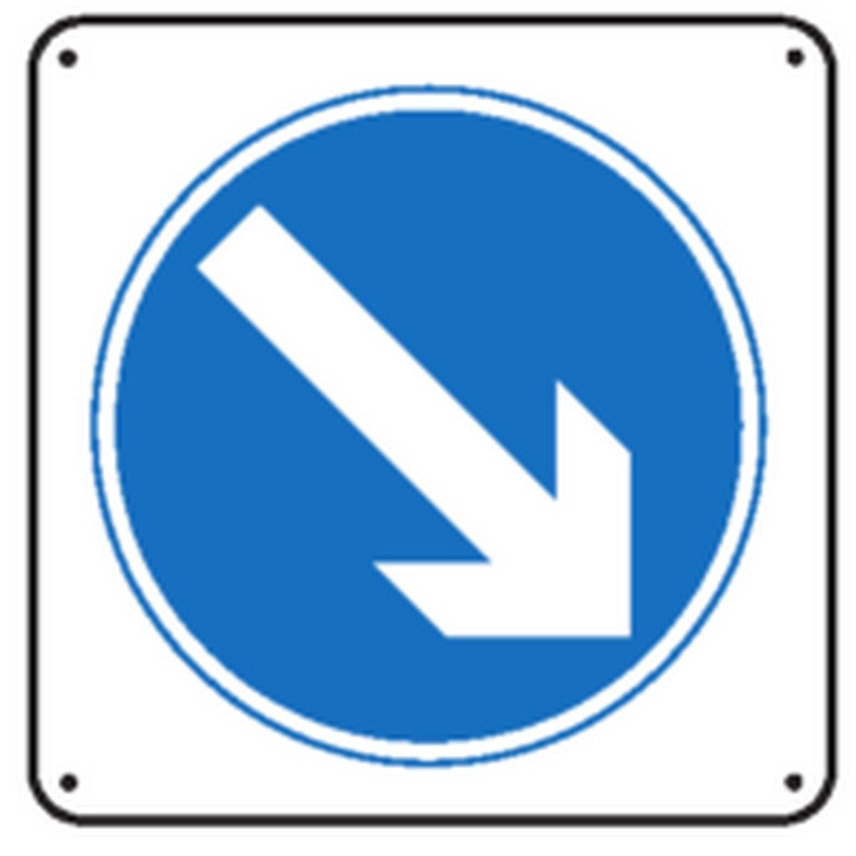 Panneau Obligation de prendre la voie de droite renforcé pour poteau