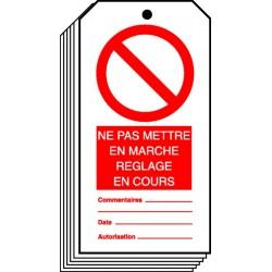 Etiquette Ne Pas Mettre en Marche Réglage en Cours