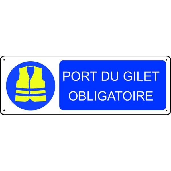 Panneau port du gilet obligatoire stocksignes - Port du gilet de sauvetage obligatoire ...