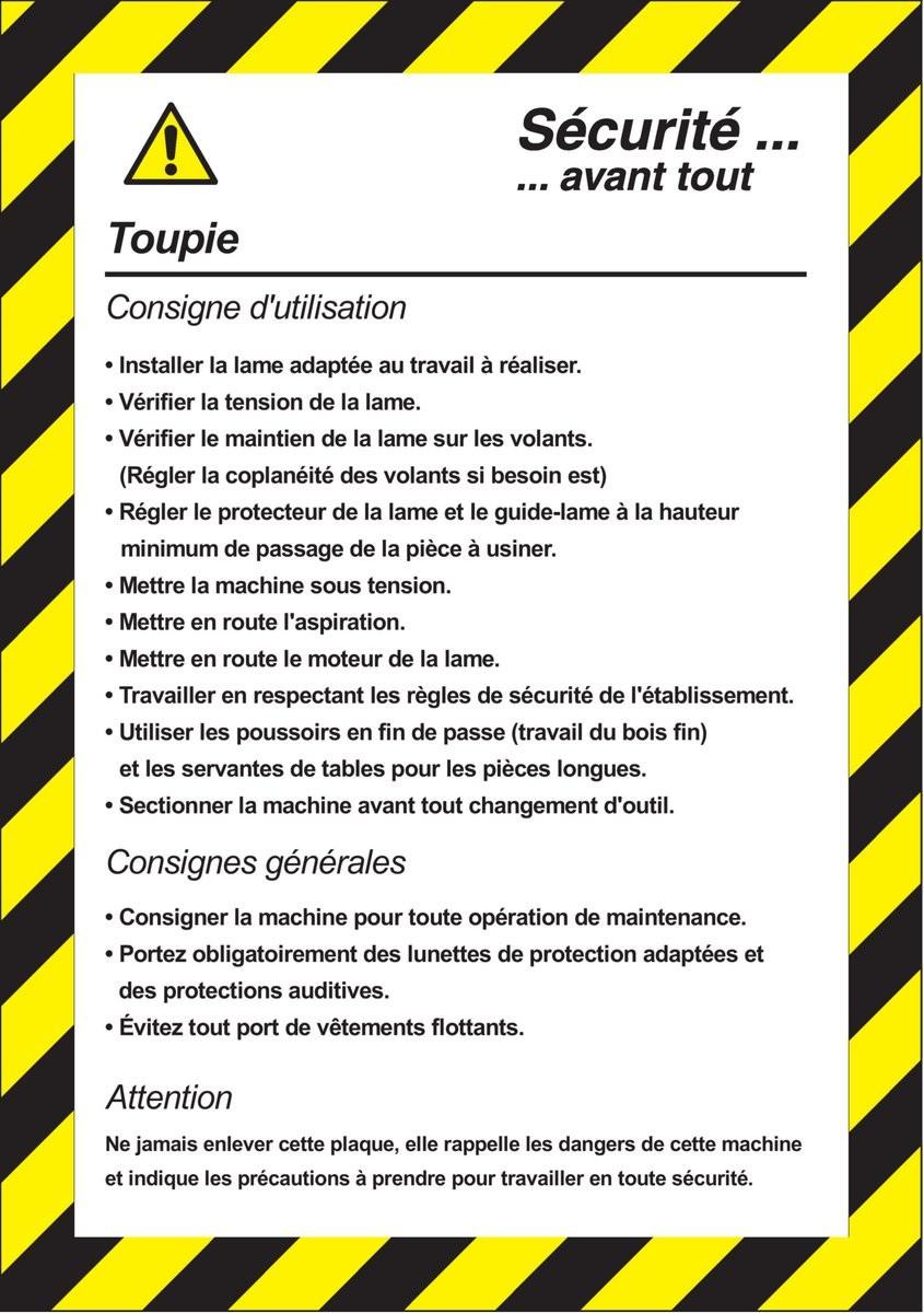 Fiche de sécurité Toupie