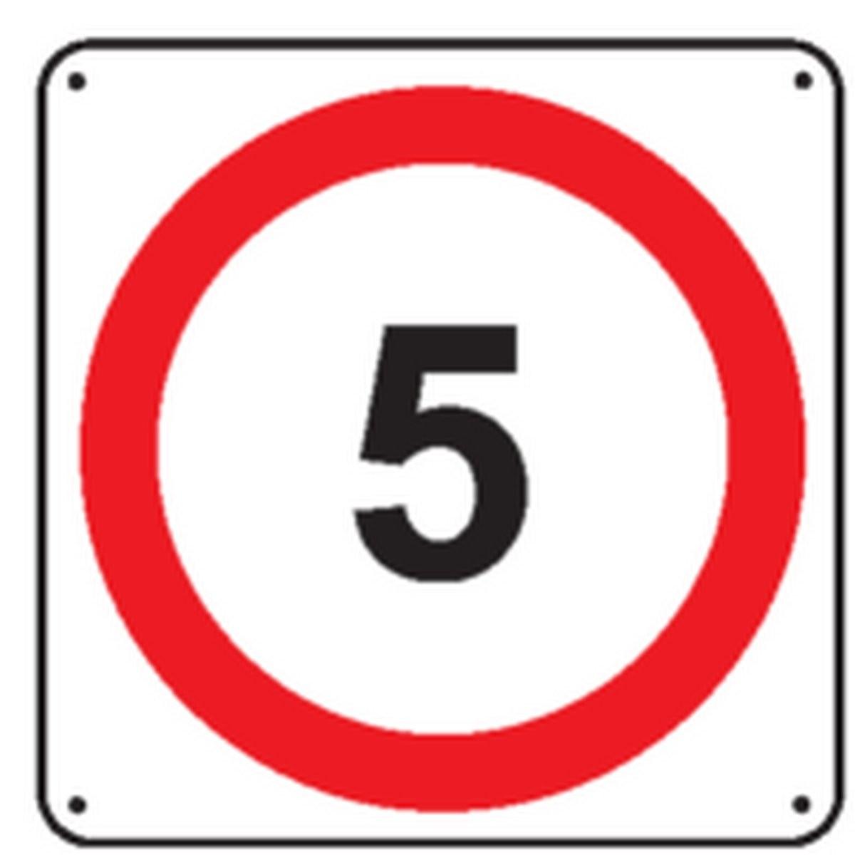 Panneau 5 Km/h renforcé pour poteau