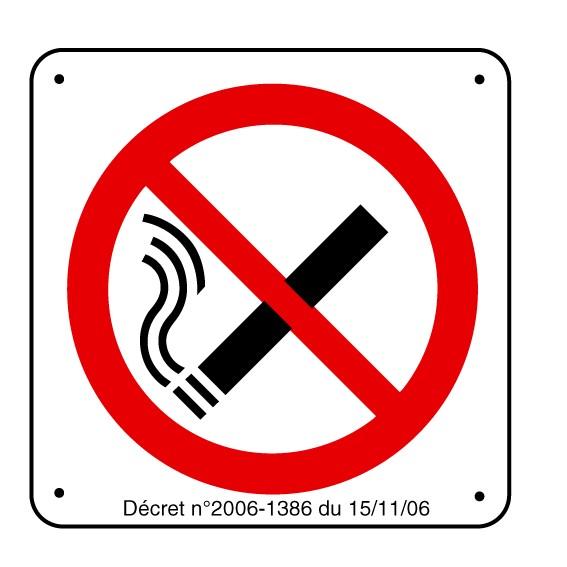 Panneau Défense de Fumer Picto avec décret