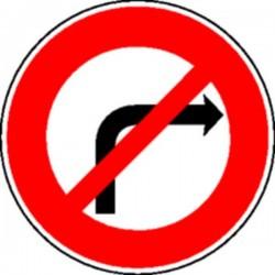 Panneau Défense de tourner à droite Classe 2