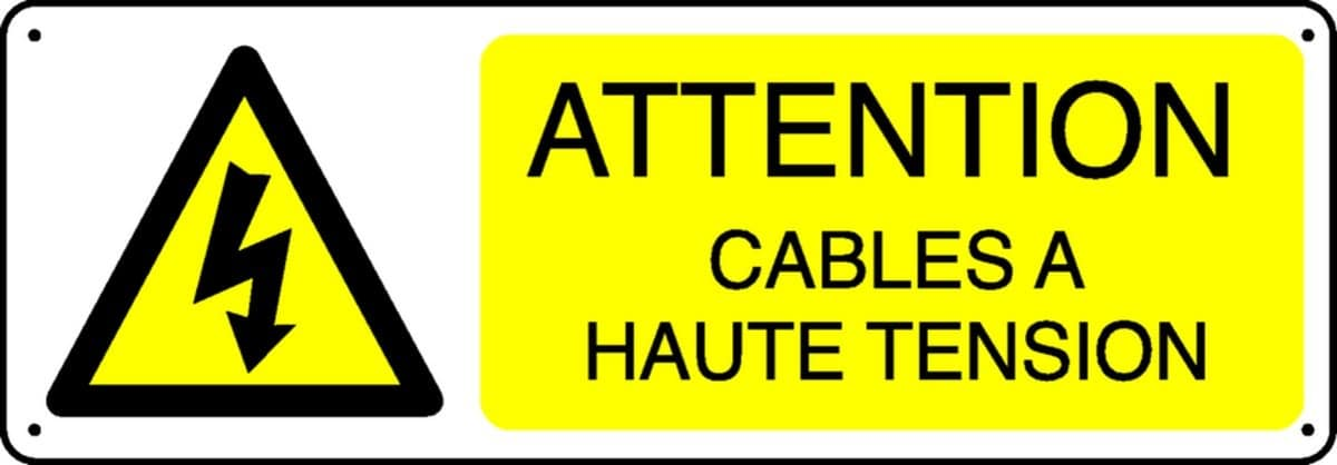 Pictogramme Attention câbles à haute tension