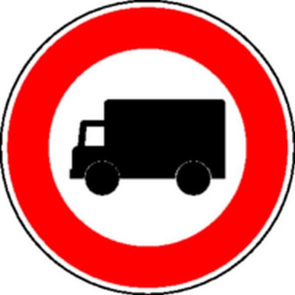 Panneau Interdit aux camions Classe 1