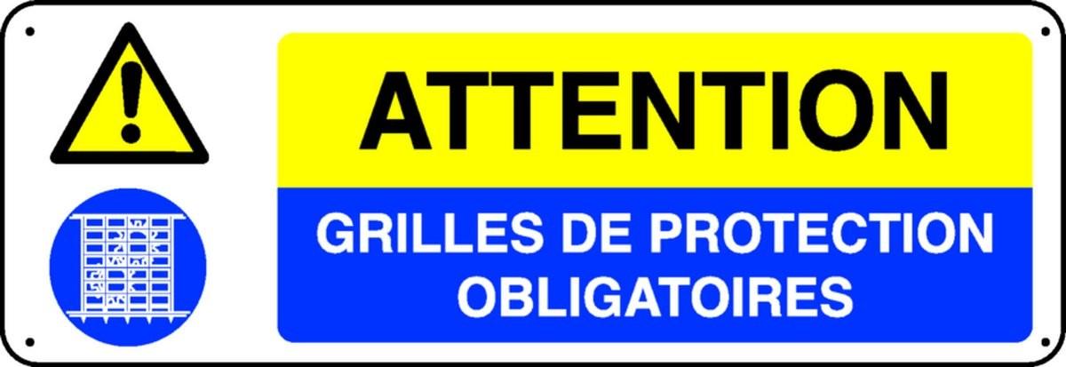 Panneau Attention Grilles de protection obligatoires