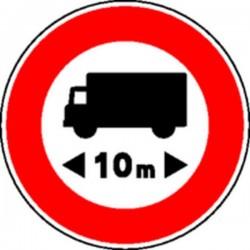 Panneau Interdit camions 10m Classe 2