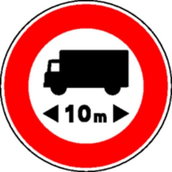 panneau interdit camions 10m classe 2 stocksignes. Black Bedroom Furniture Sets. Home Design Ideas