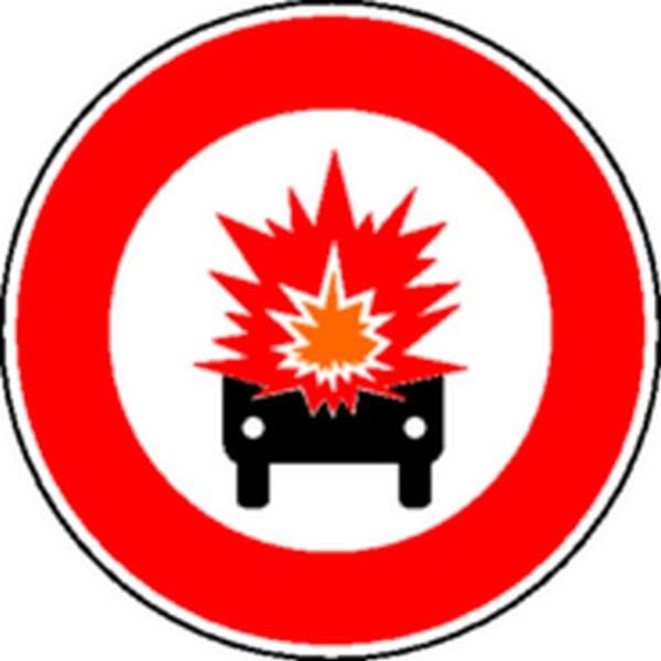 Panneau Interdit aux véhicules transportant des produits explosifs Classe 1