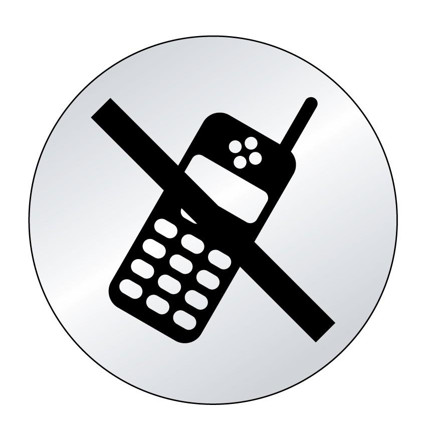 Plaque Téléphone portable interdit Picto (lnox)