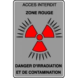 Panneau Accès interdit Danger d'irradiation et contamination