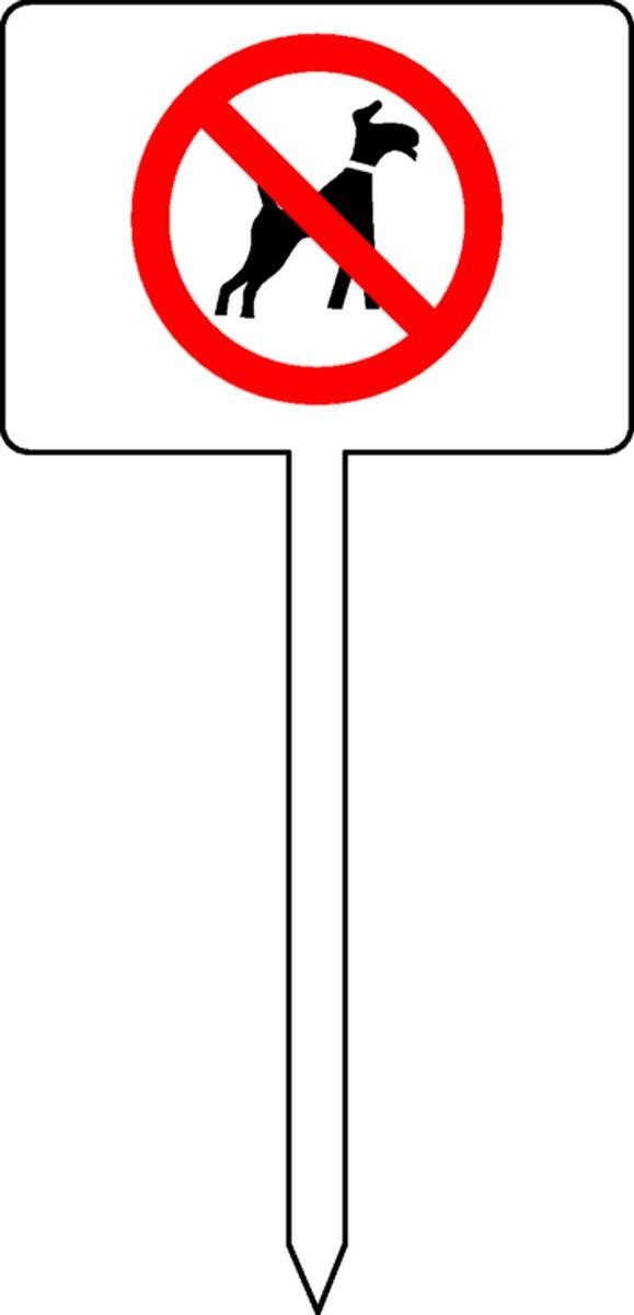 Panneau Chien interdit ( Pelouse )