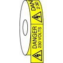 Danger 230 Volts Etiquettes 25x50 mm Bde de 50