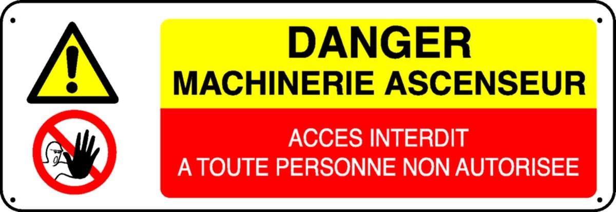 Panneau Danger Machinerie d'Ascenseur