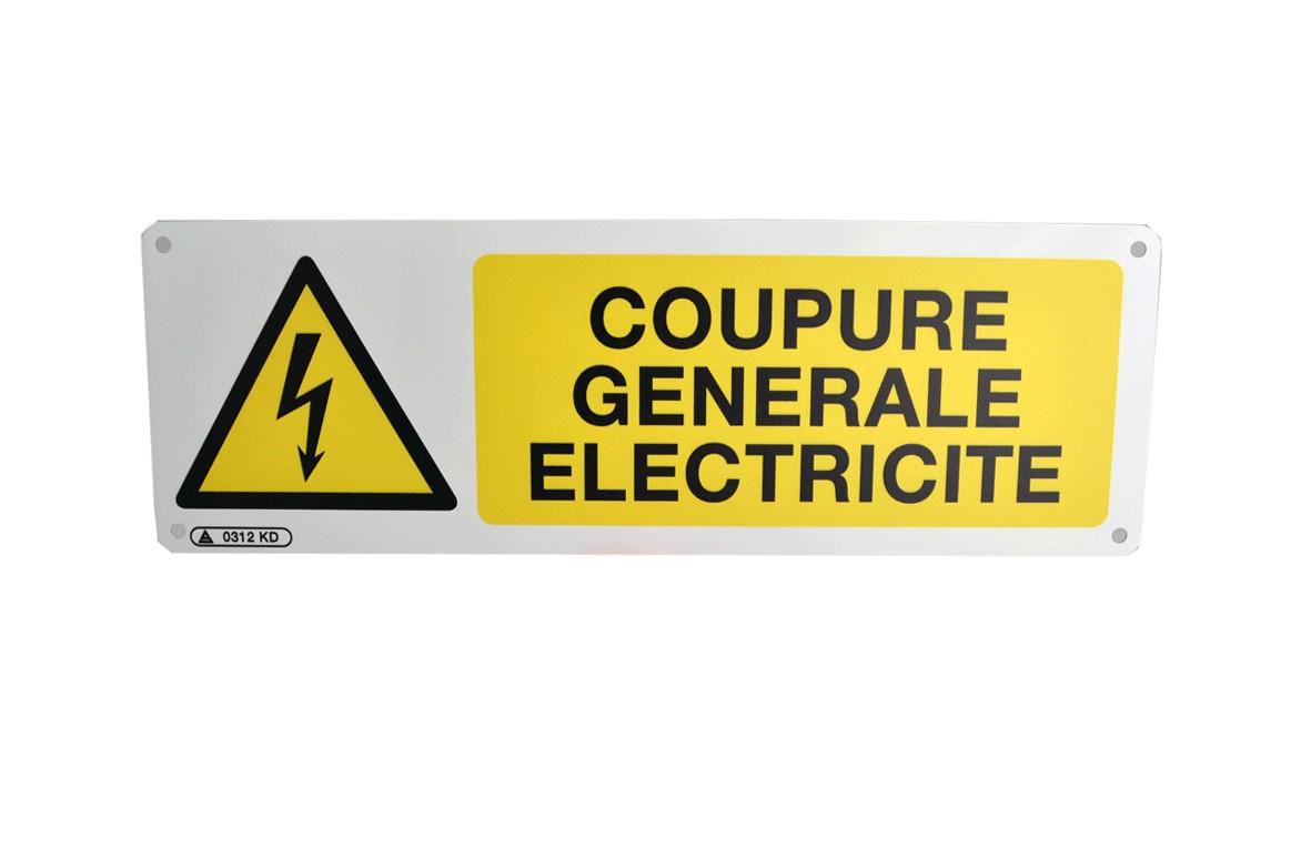 Panneau de prévention coupure générale d'électricité
