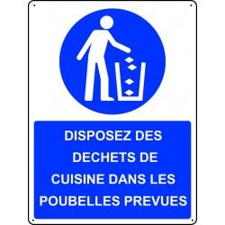 Panneau Disposez des déchets de cuisine dans les poubelles prévues