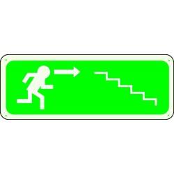 Panneau Escalier Flèche Droite Descente Photoluminescent