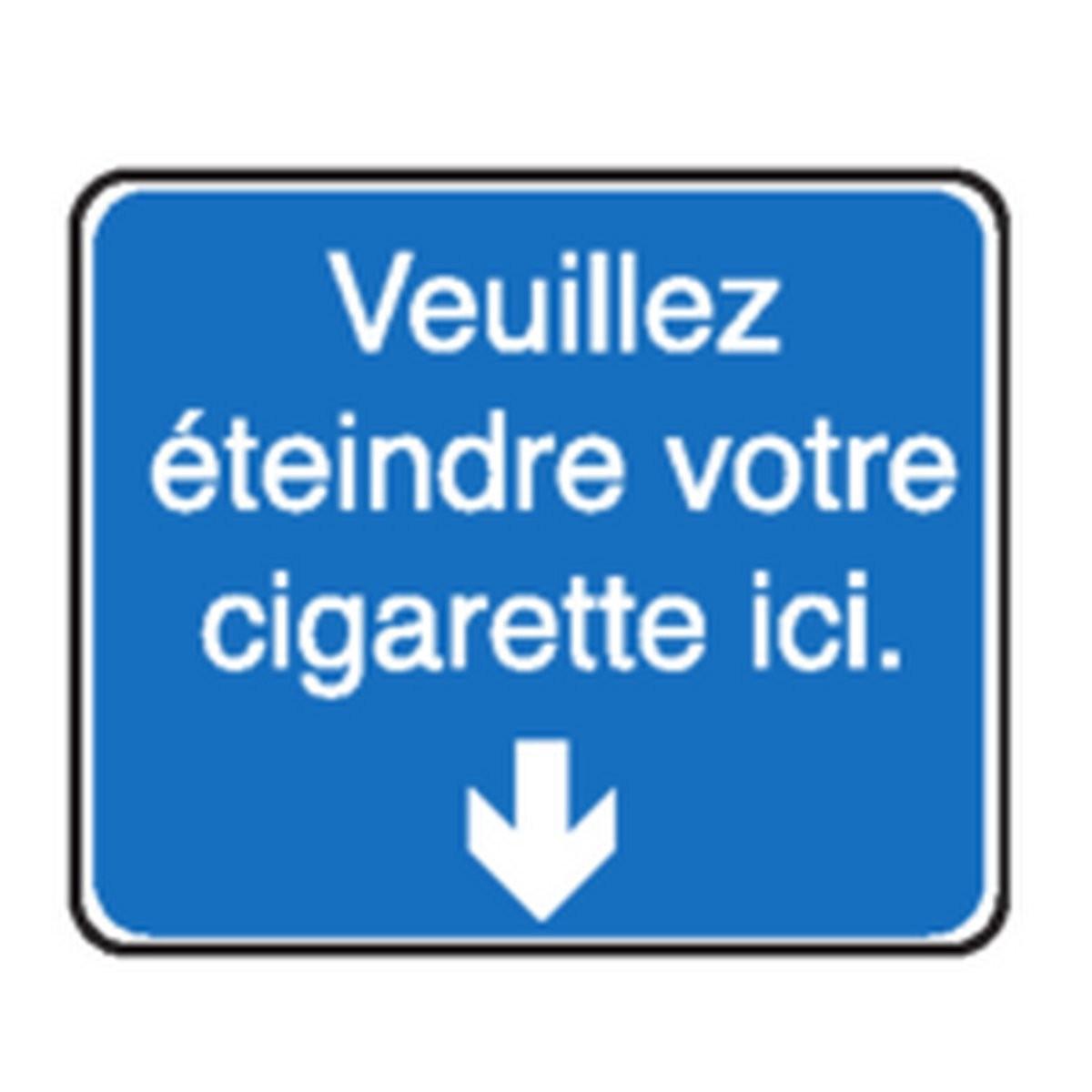 Panneau Veuillez éteindre votre cigarette ici