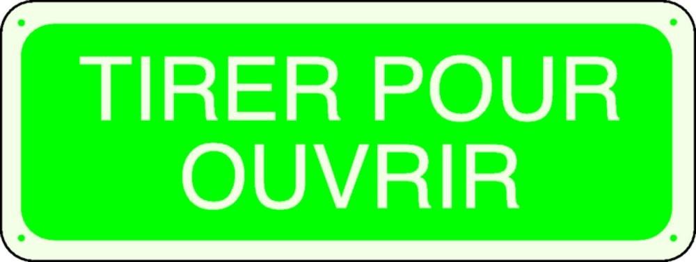 Panneau Tirer pour Ouvrir Photoluminescent