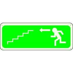 Panneau Escalier Flèche Gauche Descente Photoluminescent