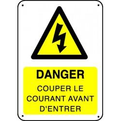 Panneau Danger Couper le Courant avant d'Entrer