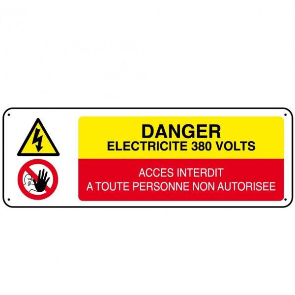 Panneau danger electricit 380 volts stocksignes for Dangers de l electricite