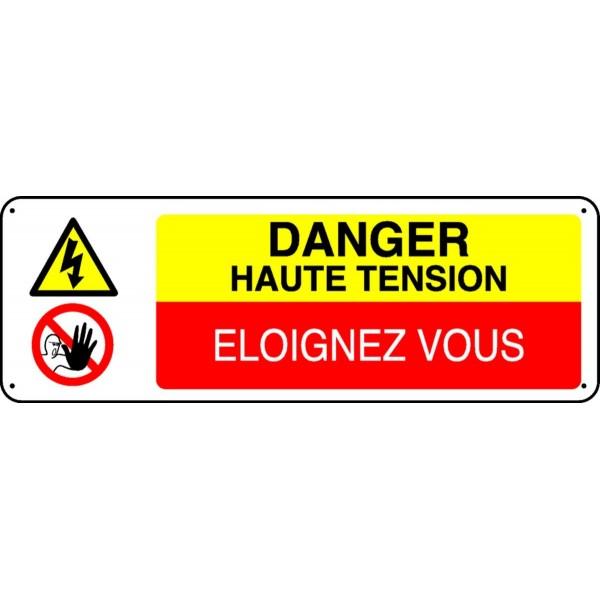 Panneau danger haute tension eloignez vous stocksignes for Haute tension mots fleches