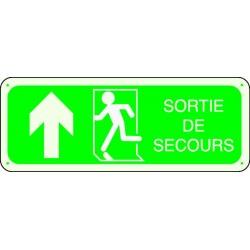 Panneau Sortie de Secours Photoluminescent Flèche Haut Gauche