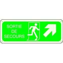 Panneau Sortie de Secours Photoluminescent Flèche Haut Droite