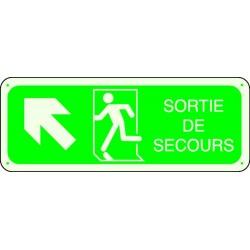 Panneau Sortie de Secours Flèche Angle Haut Gauche Photoluminescent