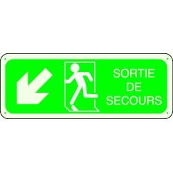 Panneau Sortie de Secours Flèche Angle Bas Gauche Photoluminescent