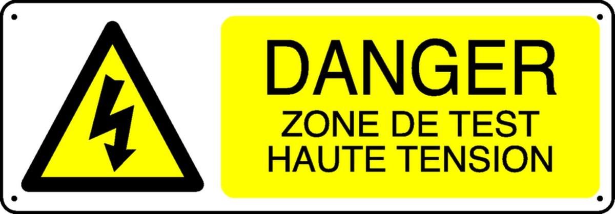 Panneau Danger Zone de test Haute tension