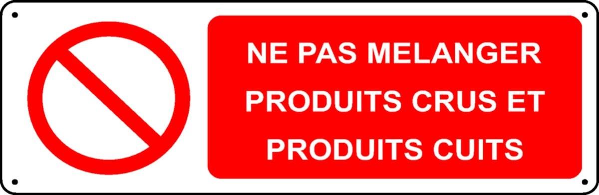 Panneau Ne pas mélanger produits crus et produits cuits
