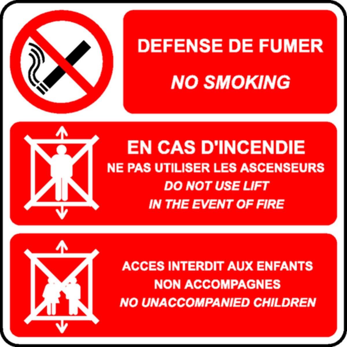 Panneau Défense de fumer/No smoking /Ascenseur