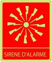Pictogramme Sirène d'alarme Photoluminescent